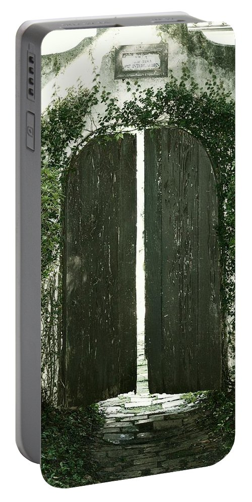 Old Door Print Portable Battery Charger featuring the photograph Secret Garden by Angie Mahoney