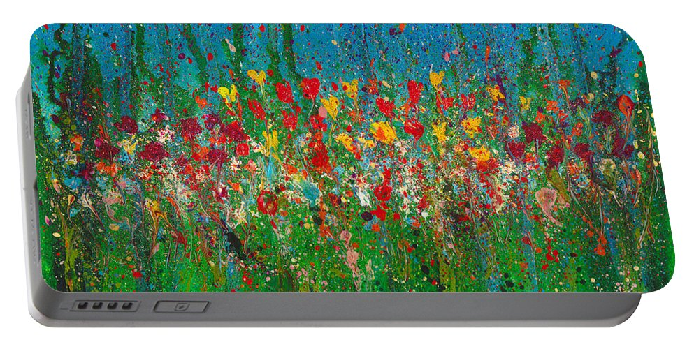 Flower Portable Battery Charger featuring the painting Secret Garden by Cindy Johnston