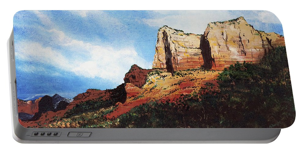 Sedona Arizona Portable Battery Charger featuring the painting Sedona Mountains by Mary Palmer