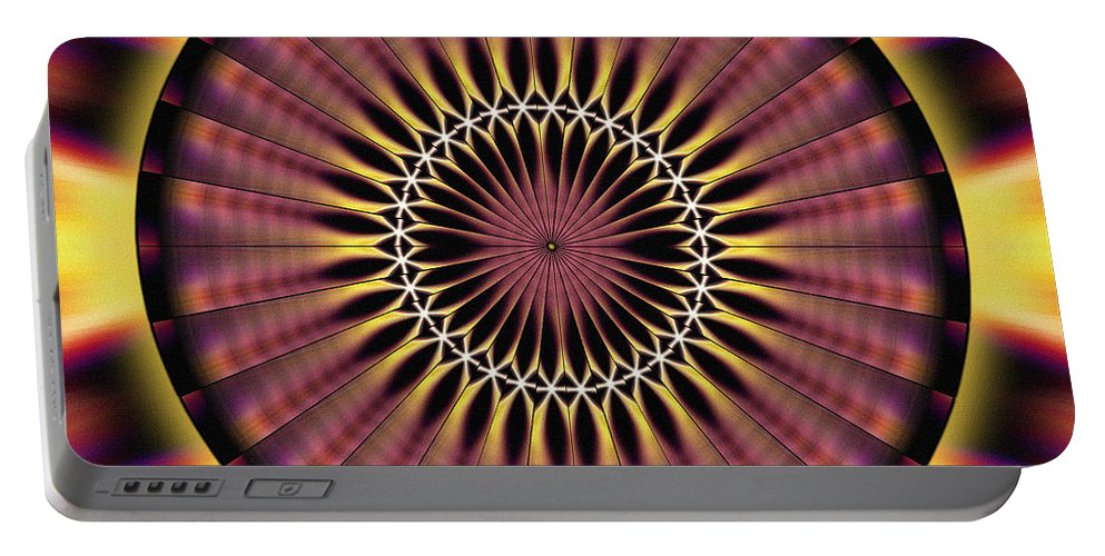 Sacredlife Mandalas Portable Battery Charger featuring the drawing Seed Of Life Kaleidoscope by Derek Gedney