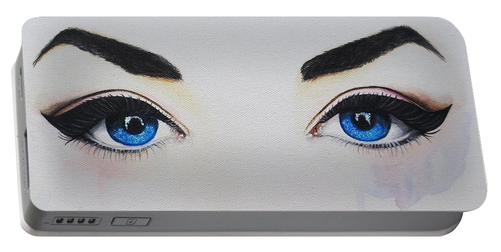 Eye Painting Portable Battery Charger featuring the painting Seeing Into The Soul Seductive by Malinda Prudhomme