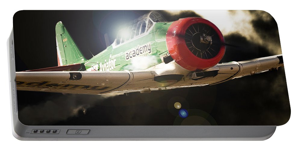 North American T-6 Texan/harvard Portable Battery Charger featuring the photograph Seeing The Light by Paul Job