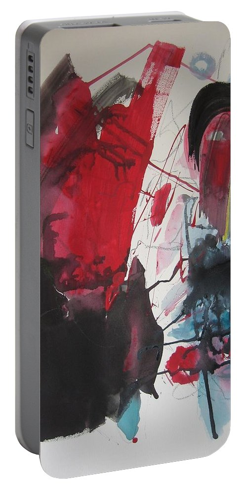 Red Paintings Portable Battery Charger featuring the painting Seem To Happen Suddenly Original Abstract Colorful Landscape Painting For Sale Red Blue Green by Seon-Jeong Kim