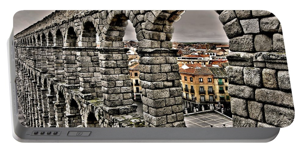 Europe Portable Battery Charger featuring the photograph Segovia Aqueduct - Spain by Juergen Weiss