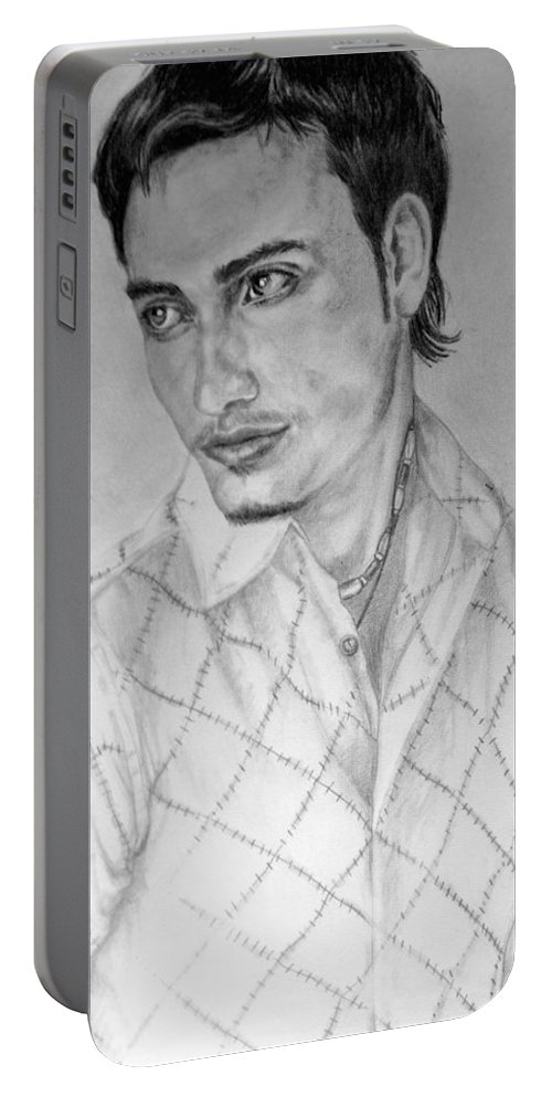 Portrait Portable Battery Charger featuring the drawing Self Portrait by Alban Dizdari