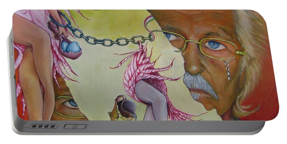 Odila Portable Battery Charger featuring the painting Self-portrait by Bob Ivens