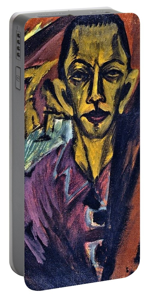 1914 Portable Battery Charger featuring the painting Self-portrait by Ernst Ludwig Kirchner