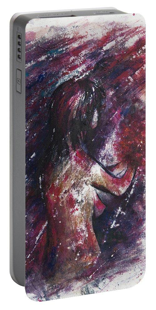 Abstract Portable Battery Charger featuring the painting Self Portrait With Flowers by Rachel Christine Nowicki
