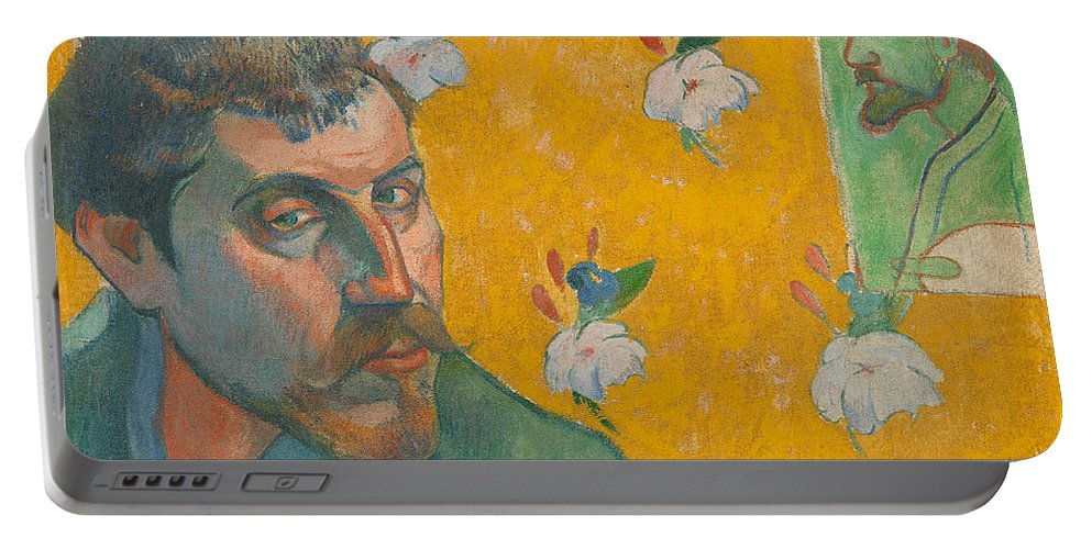 Paul Gauguin Portable Battery Charger featuring the painting Self-portrait With Portrait Of Bernard. Les Miserables. by Paul Gauguin