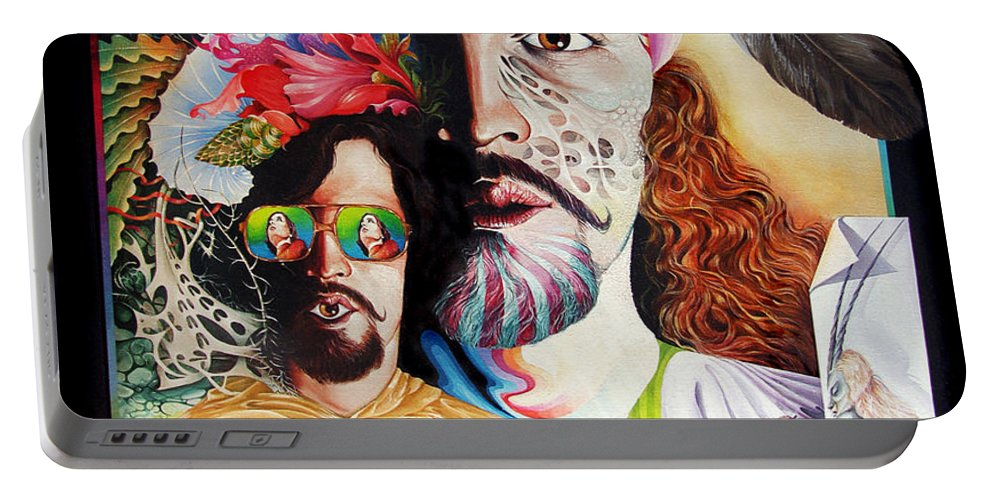 Surrealism Portable Battery Charger featuring the painting Selfportrait With The Critical Eye by Otto Rapp
