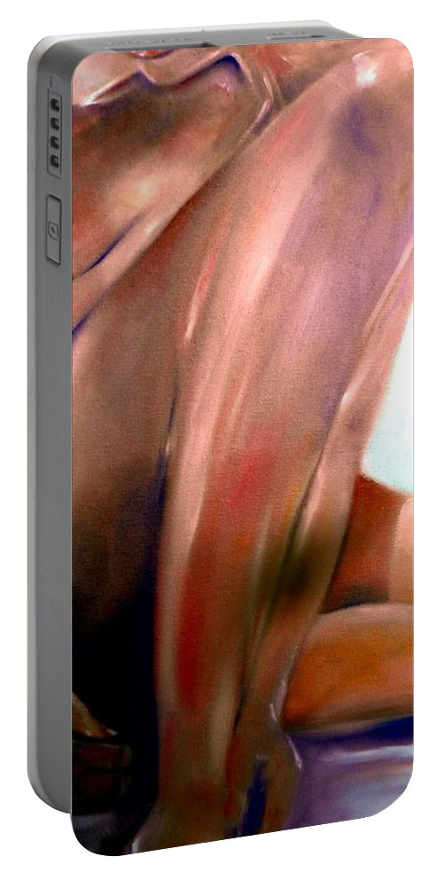 Nude Portable Battery Charger featuring the painting Sensual by Sandy Ryan