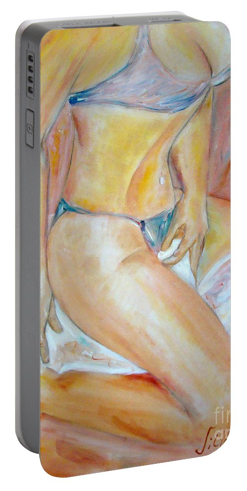 Contemporary Art Portable Battery Charger featuring the painting Sensual by Silvana Abel