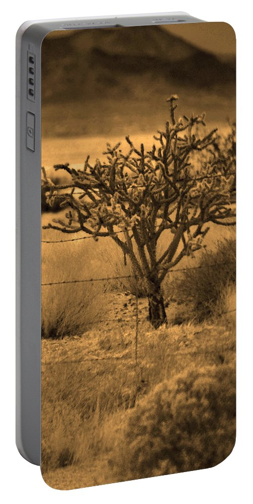 Sepia Tone Portable Battery Charger featuring the photograph Sepia Cacti Roadside by Deprise Brescia