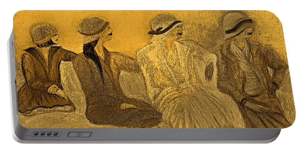 Jrr Portable Battery Charger featuring the painting Sepia Hats By Jrr by First Star Art
