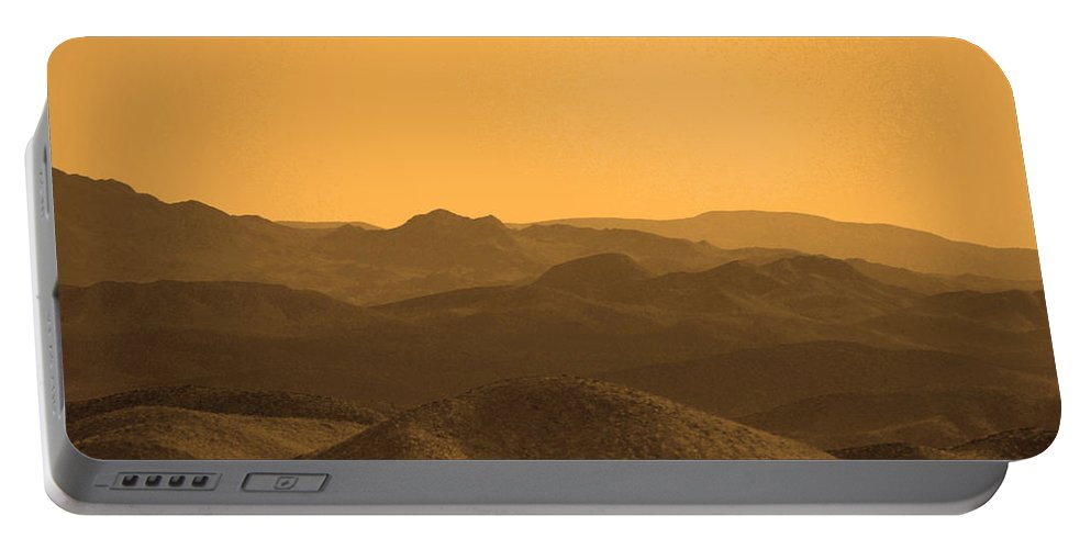 Sepia Tone Mountains Portable Battery Charger featuring the photograph Sepia Mountains by Deprise Brescia