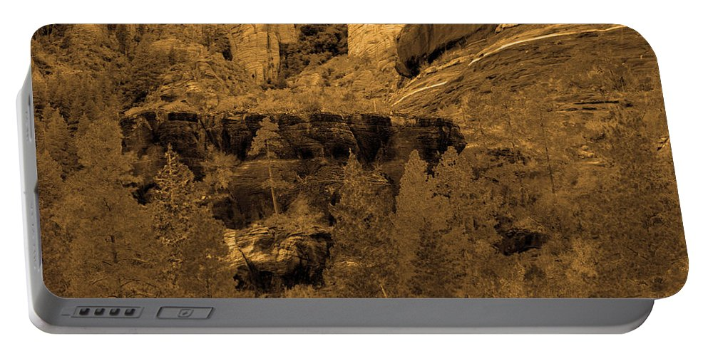 Sepia Portable Battery Charger featuring the photograph Sepia Red Rock Sedona by Deprise Brescia