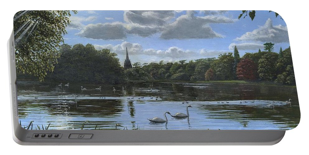 Landscape Portable Battery Charger featuring the painting September Afternoon In Clumber Park by Richard Harpum