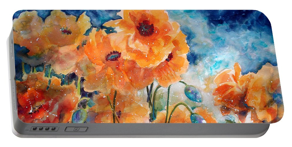 Paintings Portable Battery Charger featuring the painting September Orange Poppies      by Kathy Braud