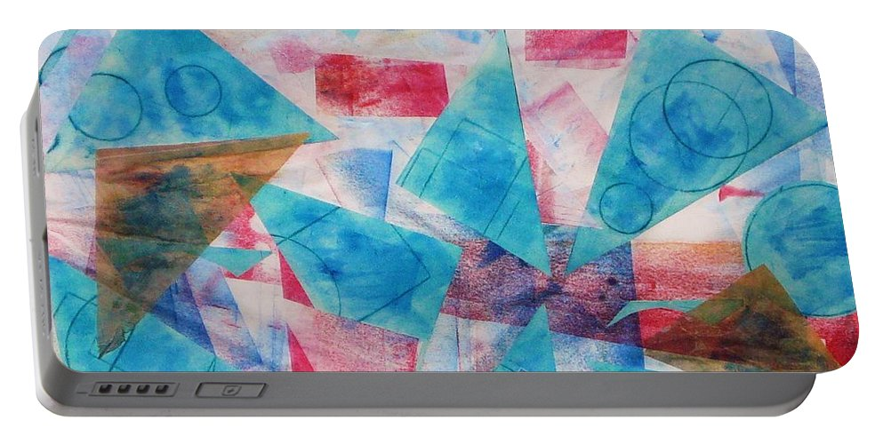 Collage Portable Battery Charger featuring the painting Serendipity by Yael VanGruber