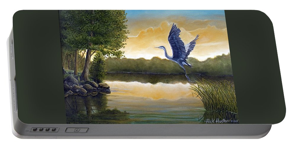 Rick Huotari Portable Battery Charger featuring the painting Serenity by Rick Huotari