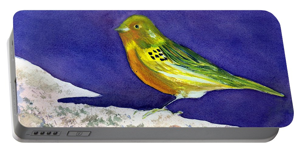 Animal Portable Battery Charger featuring the painting Serinus Canaria Aka The Canary by Donna Walsh