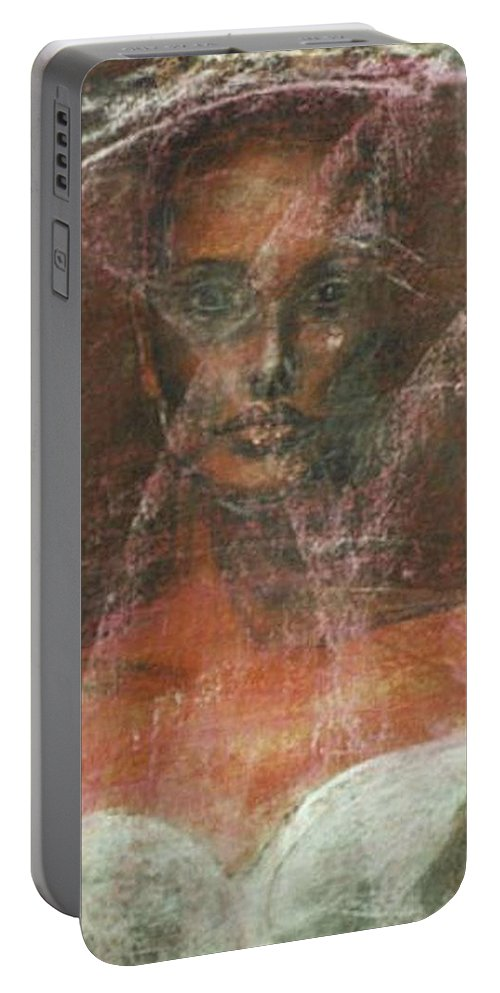 Portrait Art Portable Battery Charger featuring the painting Serious Bride Mirage by Jarmo Korhonen aka Jarko