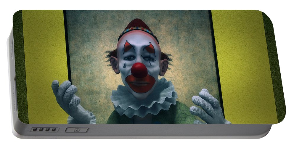 Clown Portable Battery Charger featuring the digital art Serious Discourse by Ramon Martinez
