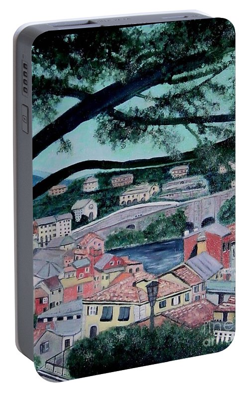 Italy Portable Battery Charger featuring the painting Sestri Levante by Laurie Morgan