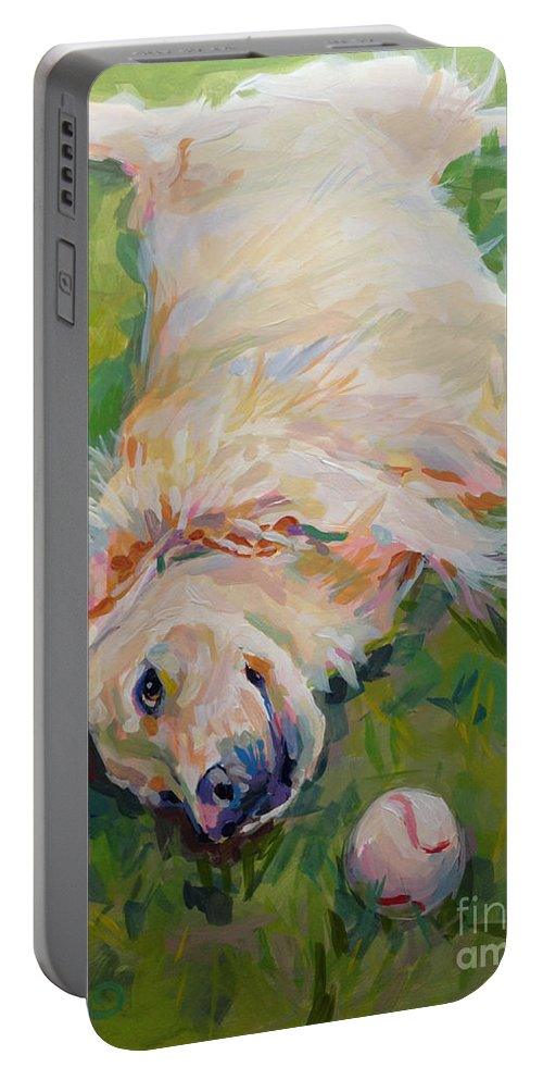 Golden Portable Battery Charger featuring the painting Seventh Inning Stretch by Kimberly Santini