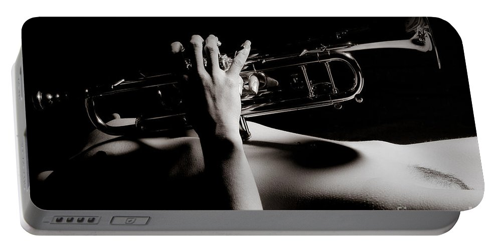 Abdomen Portable Battery Charger featuring the photograph Sexy Trumpet by Jt PhotoDesign