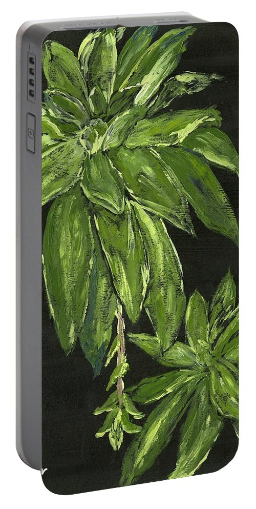 Plant Portable Battery Charger featuring the painting Shades Of Green by Alice Faber