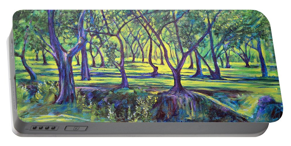 Landscape Portable Battery Charger featuring the painting Shadows At Noon - Indian Landscapes by Usha Shantharam