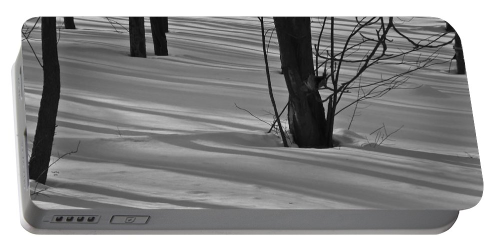 Snow Portable Battery Charger featuring the mixed media Shadows In Boyertown Park by Trish Tritz