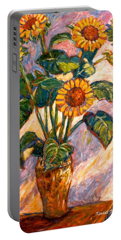 Floral Portable Battery Charger featuring the painting Shadows On Sunflowers by Kendall Kessler