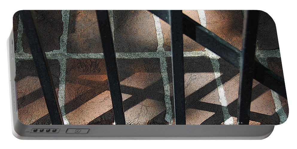Gate Portable Battery Charger featuring the photograph Shadows Through The Gate by Cindy Manero