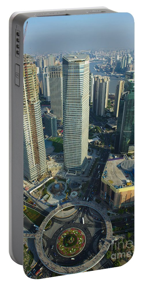 Asia Portable Battery Charger featuring the photograph Shanghai From Above by John Shaw