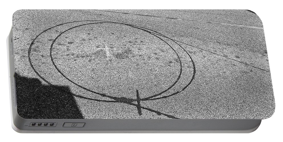 Abstract Portable Battery Charger featuring the photograph Shape And Shadow No.50 Gray Version by Fei A