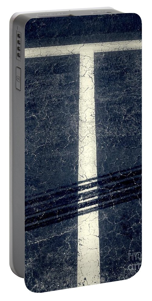 Abstract Portable Battery Charger featuring the photograph Shape No.35 Gray Scale by Fei A