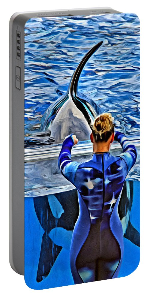 Whale Portable Battery Charger featuring the photograph Shapely Orca by Alice Gipson