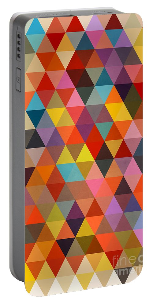 Contemporary Portable Battery Charger featuring the painting Shapes by Mark Ashkenazi
