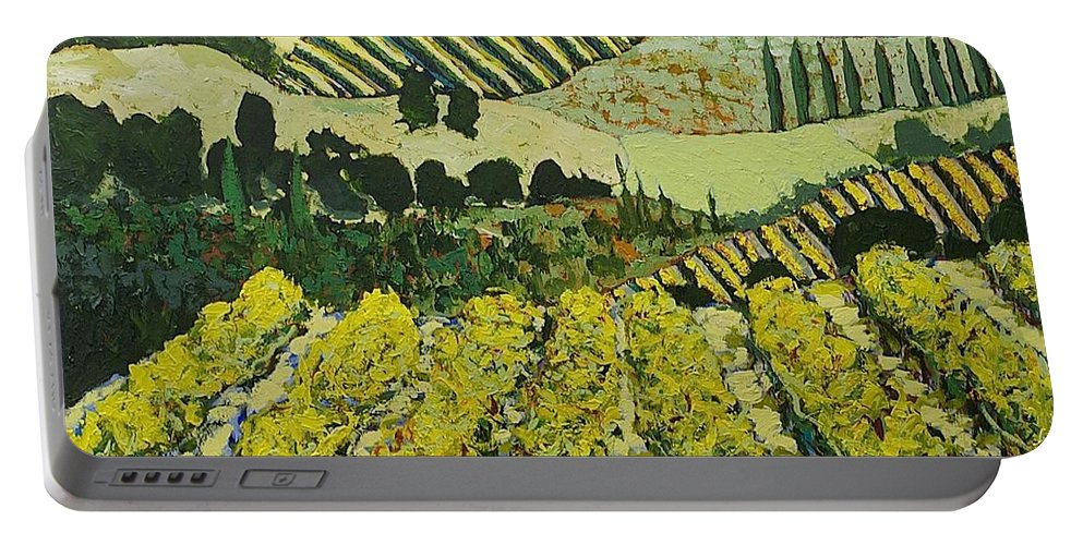 Landscape Portable Battery Charger featuring the painting Sharing The Discovery by Allan P Friedlander