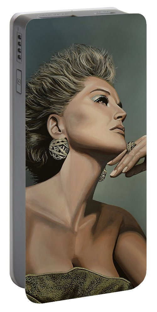 Sharon Stone Portable Battery Charger featuring the painting Sharon Stone by Paul Meijering