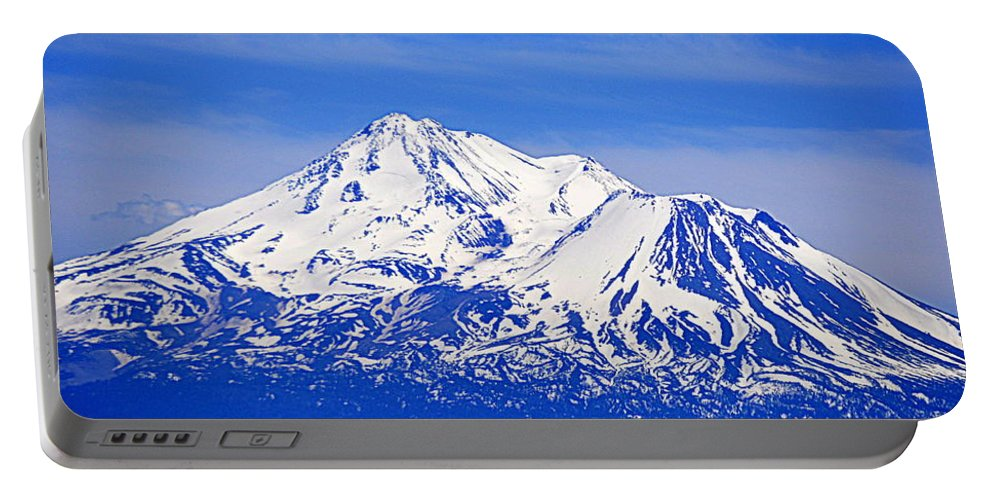 Scenic Portable Battery Charger featuring the photograph Shasta by AJ Schibig