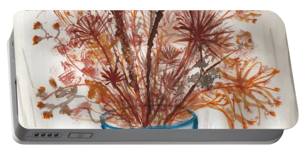 Floral Art Portable Battery Charger featuring the painting Shaylynne And Vaughn's Bouquet by Myrtle Joy