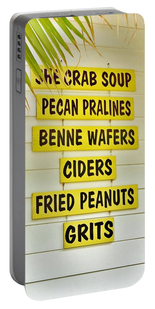 General Store Portable Battery Charger featuring the photograph She Crab Soup And Fried Peanuts by Jean Goodwin Brooks