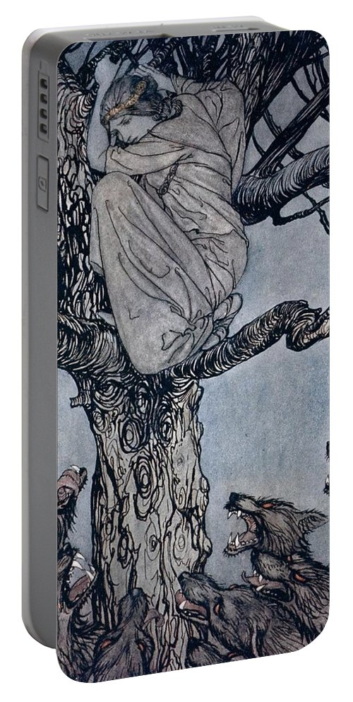 Fairy Story; Fairy Tale; Female; Tree; Wolf; Snarling; Branches; Hiding; Princess; Irish Mythology; Myth; Legend Portable Battery Charger featuring the drawing She Looked With Angry Woe At The Straining And Snarling Horde Below Illustration From Irish Fairy by Arthur Rackham