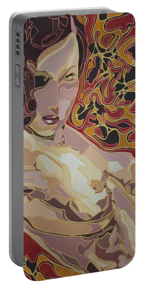 Nudes Portable Battery Charger featuring the painting She Only Wears Red by Taiche Acrylic Art