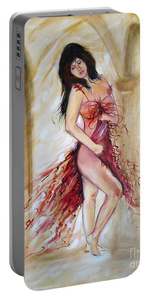 Contemporary Art Portable Battery Charger featuring the painting She by Silvana Abel