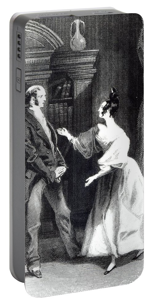 Orgueil Et Prejuge; Talking; Regency Costume; Male; Female; Discussion; Talking; Interior; Bookcase; Shelves; Bookshelves; Gesture Portable Battery Charger featuring the drawing She Then Told Him What Mr Darcy Had Voluntarily Done For Lydia by William Greatbach