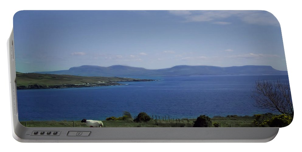 Sheep Portable Battery Charger featuring the photograph Sheep Grazing By The Irish Sea - Donegal Ireland by Bill Cannon